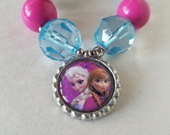 Frozen Bubblegum Necklace, Princess Anna and Elsa, Frozen Costume, Chunky Bead, Little Girl Child, Photo Prop, Frozen Birthday Necklace