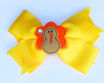 Turkey Bow Thanksgiving Feltie Hair Bow Alligator Clip 4 Inch Bow
