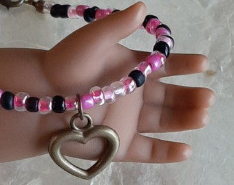 Valentines 18 inch Doll Jewelry American Girl Doll Heart Pendant Necklace, Pink And Black Necklace Doll Accessories
