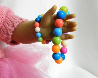 Doll and Me Jewelry Girls Bead Bracelet and American Doll Bracelet Mixed Color Beads 18 inch Doll Gift Accessories Set, Stocking Stuffer