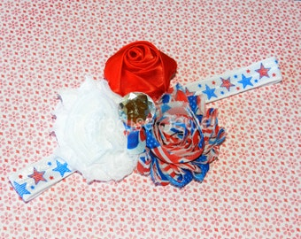 4th Of July Patriotic Bow Baby Headband Shabby Chic Flower, USA Flag, Bow Hairband On Fold Over Elastic Toddler / Girls Accessory