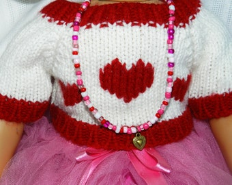 Doll Jewelry 18 inch American Doll Long Heart Necklace American Girl Heart Charm Red White Pink Doll Necklace