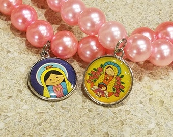 Our Lady Little Girl Or Doll Size Jewelry, Virgen de Guadalupe Pink Pearl Beaded Necklace, Mother Mary Pendant