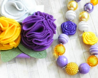 Birthday Chunky Necklace Headband Purple Mustard Yellow White Hairbow Set Little Girls Felt Flower Headband, Cake Smash, Photo Prop Set