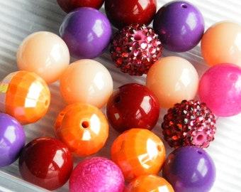 DIY Beads 20 Bubblegum Beads, Hot Pink , Orange, Purple, Red Beads, Round 20mm Beads, Jewelry Making Bead Lot, Loose Beads