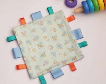 Baby Sensory Blanket, Gender Neutral Lovey, Baby Tag Blanket,  Security Crinkle Blanket
