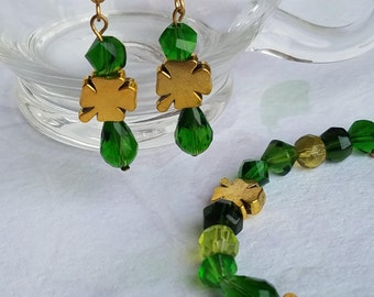 St Patrick's Day Bracelet Earrings Set Gold Shamrock Jewelry Swarovski Crystal Green Glass Bead Four Leaf Clover Charms Irish St. Patrick