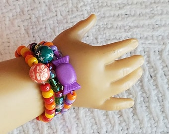 18 inch Doll Holiday Bracelet Set American Girl Doll Bracelets Doll Jewelry, Doll Jewelry Gift Set