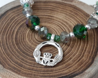 Claddagh Bracelet Irish Jewelry, Celtic Jewelry Irish Claddagh Bracelet, Love Loyalty Friendship Bracelet Green Glass Bead, Gift For Her