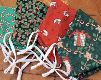 Christmas Fitted Face Masks, 100% Cotton kids Face Mask Washable Adult Face Mask, Handmade Fabric Reuseable Face Masks