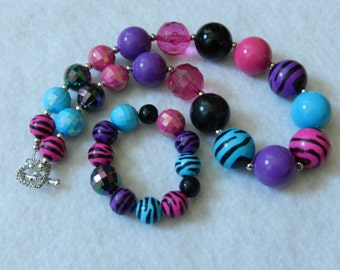 Toddler Jewelry Chunky Necklace, Animal Print Bubblegum Bead Set, Just For Fun Photo Prop, Purple Pink Aqua