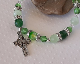 Irish Bracelet Gaelic Jewelry, Celtic Cross Jewelry, Green Glass Bead Bracelet Gift For Her