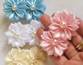 Girls Hairbow Double Flower Bows Baby, Toddlers Girls Pig Tail Hair Bows Small Hair Clips, Choose Your Color