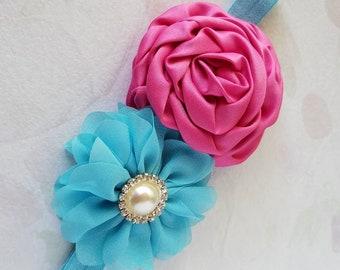 Little Girls Headband Double Flower Hair Bow, Elastic Headband, Choose Your Color, Baby Girls Party Headband Baby Hairband