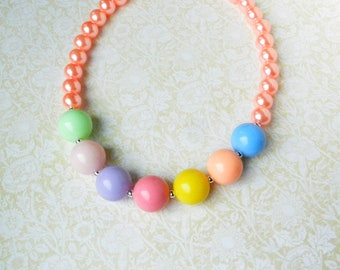 Chunky Bubblegum Necklace, Pink Pastel Color Girls Chunky Beads, Little Girl Necklace Rainbow Necklace