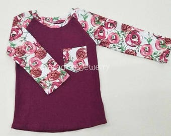 Girls Cotton Raglan Sweet Rose Print, Therese Raglan, Girls Top, Girls Pocket Tee Family Look Sister Shirts Long Sleeve Tee