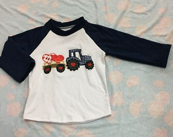 Pre-order Tractor Raglan Shirt, Little Boys Tee, Valentine's Day Top, Boutique Clothing