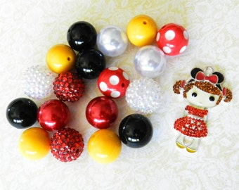 DIY Beads Mickey Mouse Ears Inspired, Disney Trip Rhinestone Pendant, Chunky Bead Craft Kit Necklce
