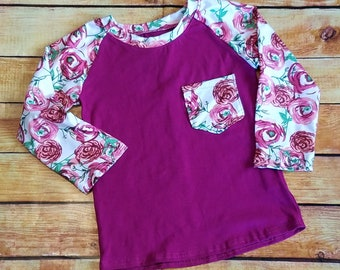 Little Girls Raglan Size 4 Sweet Rose Print Therese Raglan, Girls Top, Girls Pocket Tee Long Sleeve
