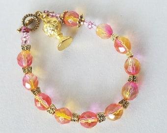 Catholic Jewelry Rosary Bracelet First Holy Communion, Chalice IHS Charm Glass Bead Bracelet Religious Gift For Her, Catholic Gift