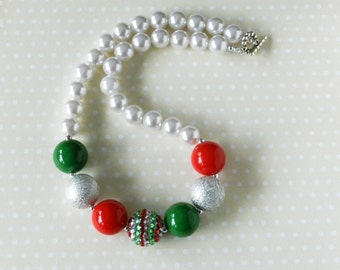 Kid Size Christmas Bubblegum Necklace, Red Green Silver Childs Chunky Beads, Girls Holiday Necklace