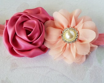 Little Girls Headband Double Flower Hair Bow, Elastic Headband, Choose Your Color, Baby Hairband