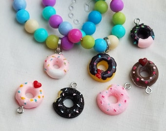 Donut Charm Bracelet Little Girls Party Favor, Donut Birthday, Donut Party Supplies