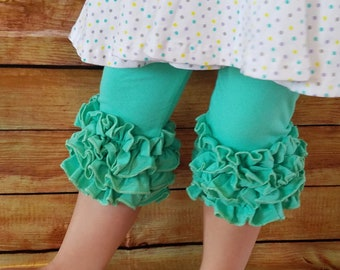 Ruffle Capris Girls Clothing Pink, Mint, White Little Girls Ruffle Toddler Icing Capris Layering Pants Ruffle Leggings Toddler Capri Pants