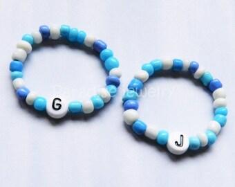 Newborn Baby Personalized Bracelet Set Identical Twins Boys Blue Baby Bracelet Jewelry Retro Hospital ID Keepsake Twin Gifts New Baby Gift