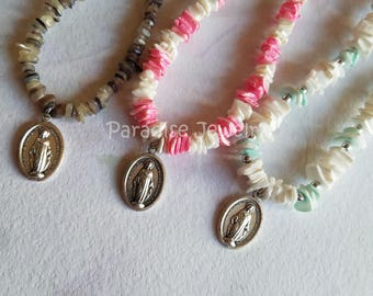 Puka Shell Necklace, Miraculous Medal, Catholic Jewelry Necklace, Mother Mary Catholic Teen Gift