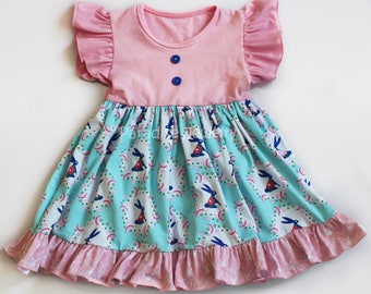 Little Girls Easter Dress Bunny Flower Flutter Dress Toddler Girls Dress Soft Cotton Blue Pink