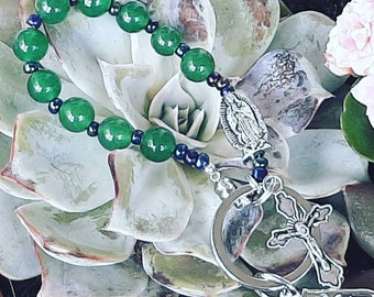 Pocket Rosary, One Decade Aventurine Stone Catholic Rosary, Car Rosary