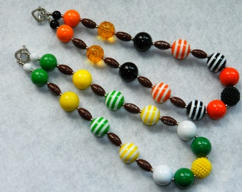 Football Necklace Chunky Bubblegum Necklace Chunky Bead Necklace Oregon Ducks Football Chiefs, 49ers