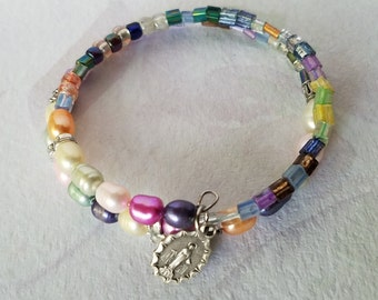 Miraculous Medal Wrap Bracelet, Multi Colored Pearl, Memory Wire Bracelet, Unique Gift