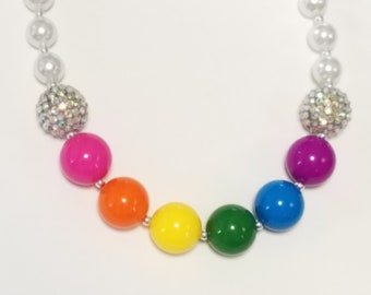 Rainbow Color Little Girls Chunky Bubblegum Necklace, Chunky Bead Rainbow Necklace