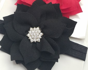 Poinsettia Flower Headband, Flower Bow, Rhinestone Center Choose Your Color Baby / Little Girls Christmas Accessory