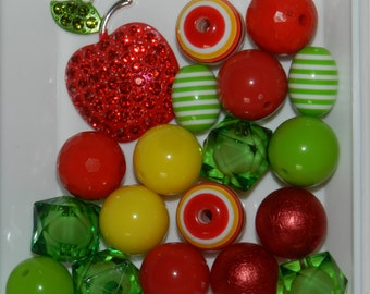 Apple Rhinestone Chunky Bubblegum Bead Kit, Stay At Home And Craft Big Beads