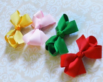 Back to School Girls Hair Bows Piggy Bows Hair Bow Clip Hairbow Sets 4 Colors Toddler Girls Pig Tail Bow Pig Tail Hairbows Pony Tail Bow Set