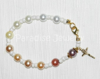 Ombre Rosary Bracelet Gift, Crucifix Charm, Colored Pearls Glass Bead Bracelet, Gift for Her