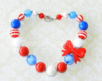 Little Girls Red, White and Blue, Patriotic Bubblegum Bead Chunky Necklace