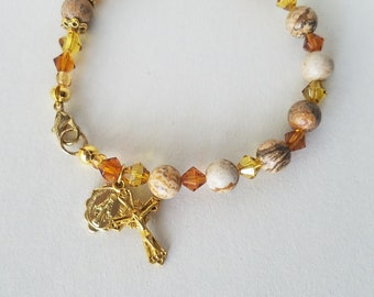 Rosary Bracelet Crucifix and Miraculous Medal Charms Jasper Gemstone Bracelet Catholic Bracelet Catholic Gifts