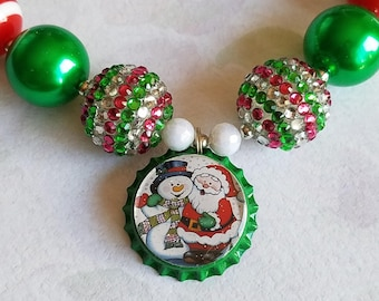 Christmas Santa Snowman Bottle Cap Necklace, Bubblegum Beads Chunky Bead Girls Holiday Necklace, Red Green, St Nick Necklace