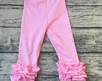Pre-order Little Girls Pink Ruffle Leggings Girls Clothing Soft Cotton Triple Ruffle Toddler Leggings Layering Pants