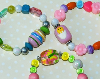 Little Girls Jewelry Symbols Of Easter Bracelet Set Easter Set Of 3 Egg, Butterfly, Chick Inspirational Gifts