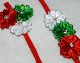 Christmas Floral Bow Headband Baby / Girl Accessory Photo Prop triple satin ribbon flower headbands