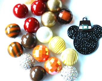 Fall Chunky Bubblegum Bead Mickey Mouse Inspired Disney Trip Thanksgiving Craft DIY Jewelry Kit Fall Harvest