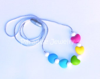 Baby Chew Beads Rainbow Baby Teething Nursing Necklace for Mommy and Baby Food-Grade Silicone Chew Beads Baby Shower Gift
