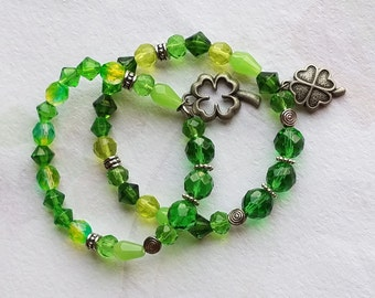 St Patrick's Day Swarovski Crystal Green Glass Bead Bracelet Irish Shamrock Charm Stretch Bracelet, Clover Charm Gifts, for Her
