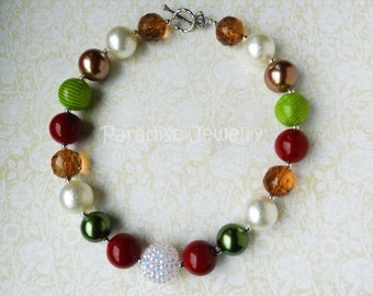 Fall Colors Chunky Necklace, Bubblegum Beads, Toddler Necklace, Chunky Bead, Harvest Necklace, Photo Prop, Pumpkin Patch Outfit
