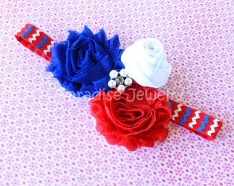 4th Of July Patriotic Bow Baby Headband Shabby Chic Flower Bow Hairband On Fold Over Elastic Baby / Girls Fourth of July Outfit